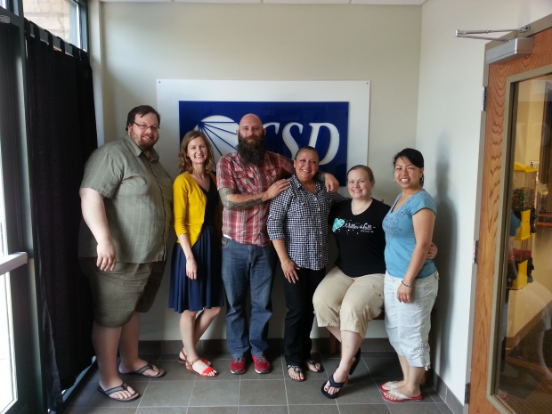 Galinda's last day with our current staff. Pictured left to right: Andrew Oehrlein, Sarah Hoggard, Shawn Vriezen, Galinda Goss-Kuehn, Kelsey Bjorkman, and Mai Vue