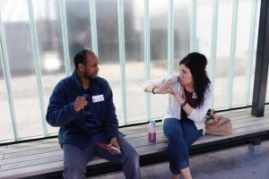 Allyssa Smith, intern, with a Deaf ABE student