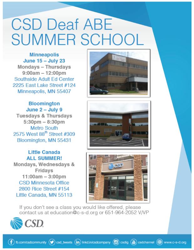 CSD Deaf ABE Summer 2015 Class Schedule