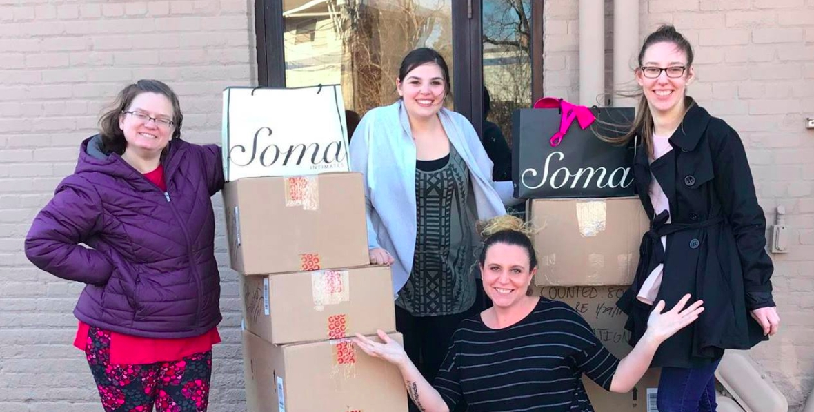 advocates with boxes of donations